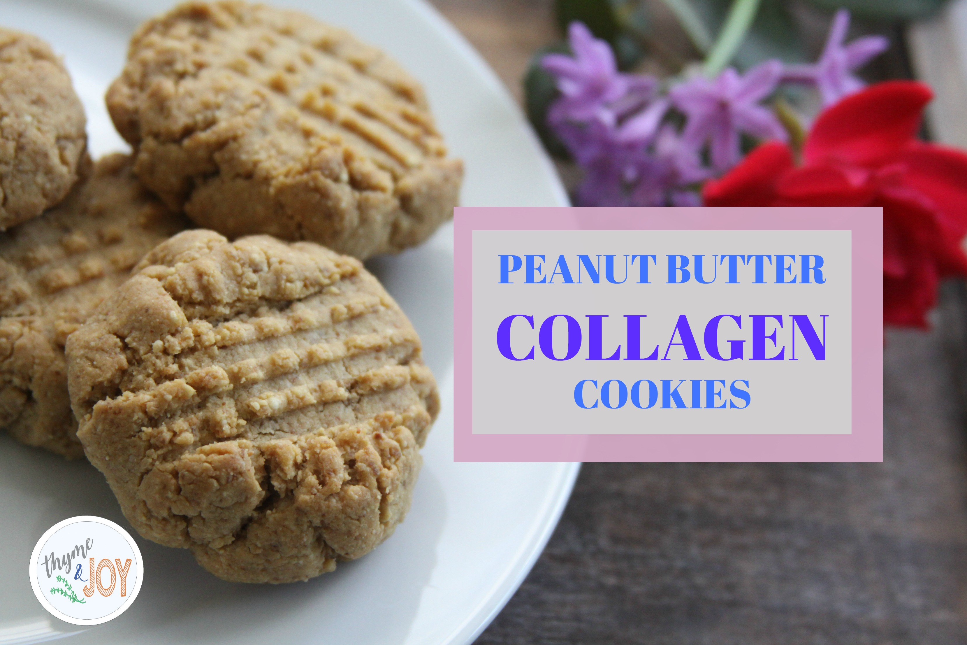 These Peanut Butter Collagen Cookies are nutritious and naturally sweet. They also only require five ingredients to make. | Thyme + JOY