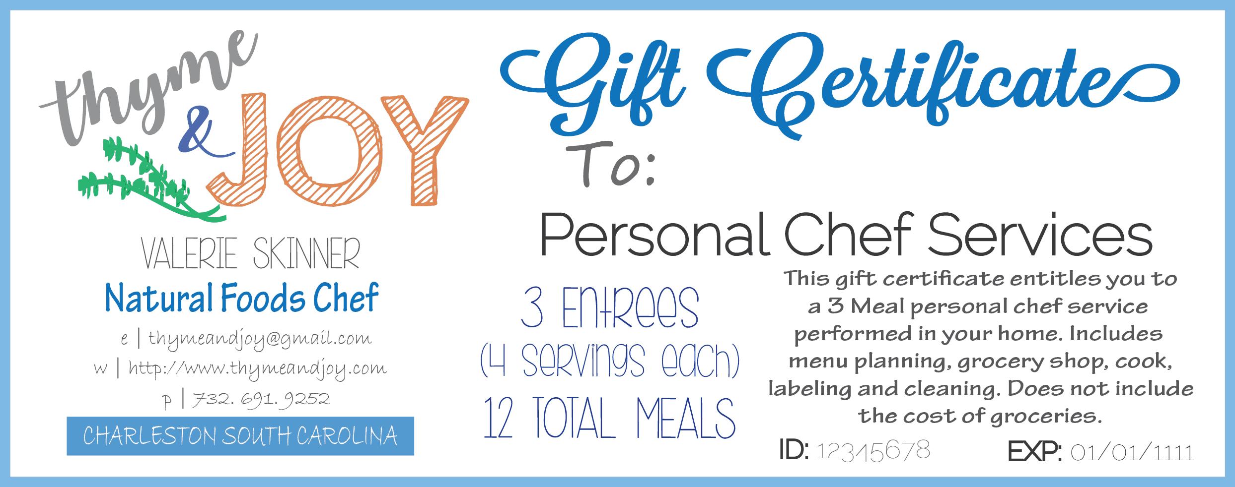 Thyme + JOY gift certificates