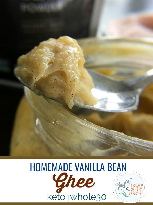 This vanilla bean sea salt ghee is a perfect subsittute for buying expensive brands. It is also great in coffee, on baked goods and suitable for Whole30. #keto #whole30
