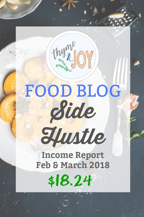 Food Blog Side Hustle Income Report | Feb & March 2018 | Thyme + JOY