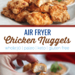 These air fryer chicken nuggets use the air fryer to make delicious crispy chicken nuggets that are gluten free and made with clean ingredients. #paleo #whole30 #glutenfree #keto #airfryer #airfryerrecipes