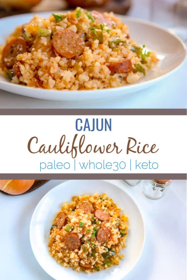 This cajun cauliflower rice is a paleo, whole30, and keto take on dirty rice. It uses riced cauliflower, andouille sausage, pepper, onion and creole and cajun seasonings to make an easy one pot skillet meal.#whole30 #paleo #keto