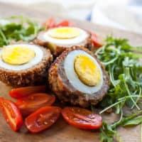 air fryer scotch egg with salad