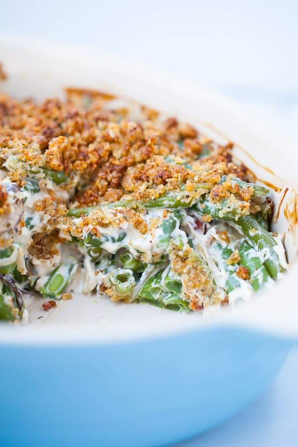 green bean casserole in blue casserole dish