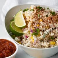 bowl of corn pasta salad