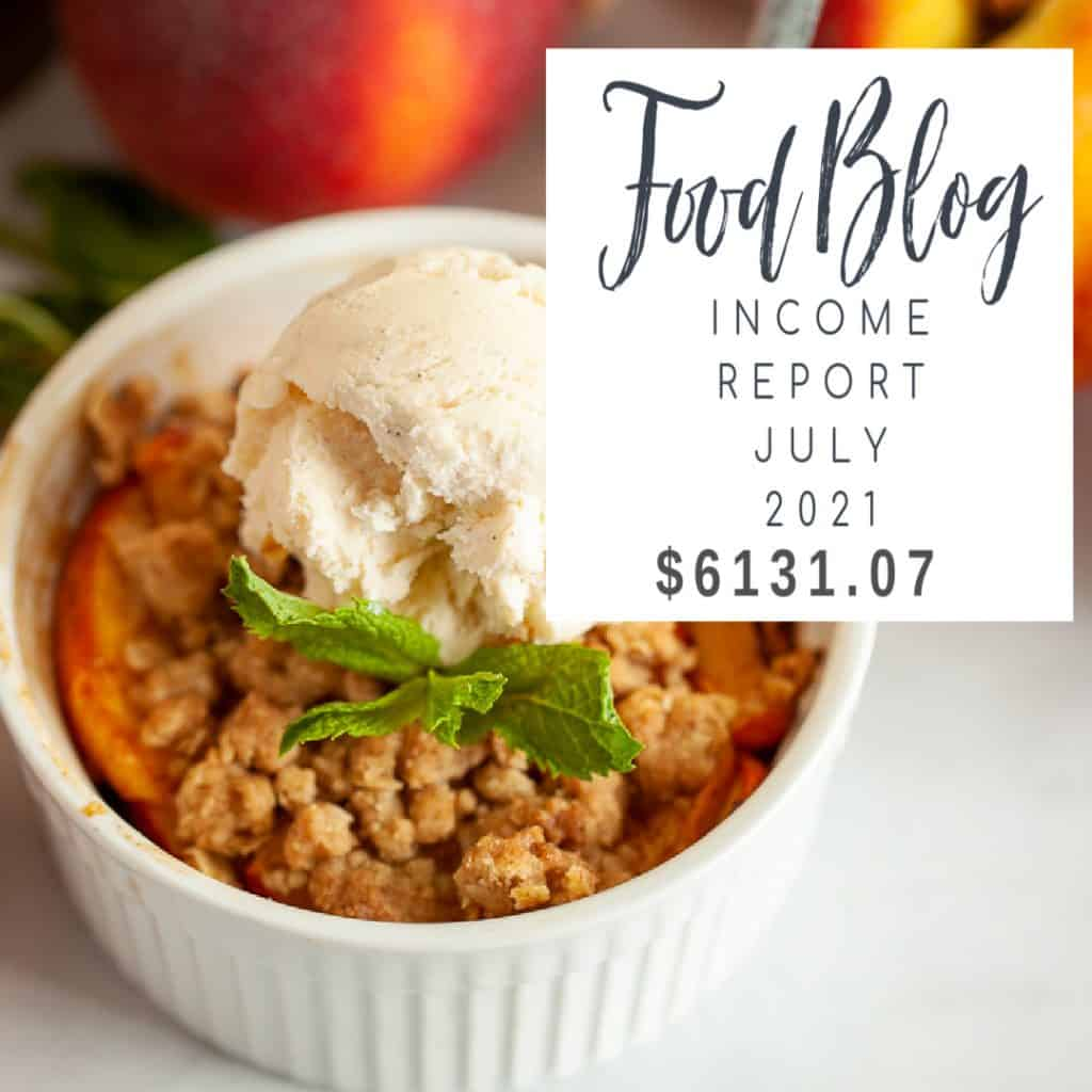 july 2021 food blog income report