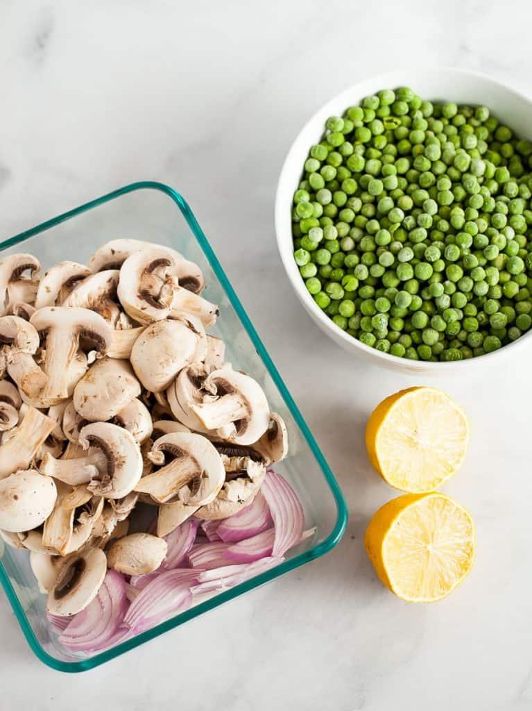 sauteed mushrooms and peas