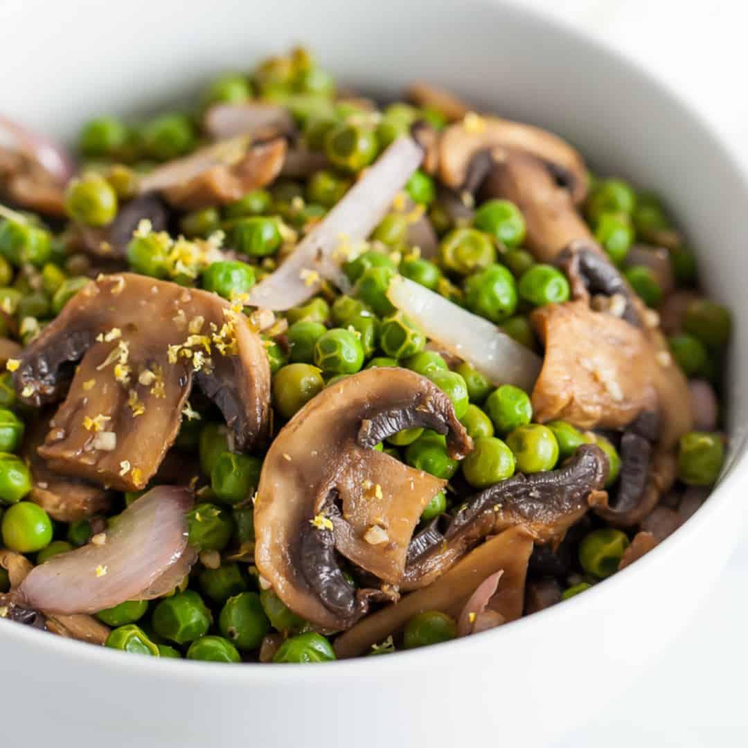 sauteed peas with mushrooms