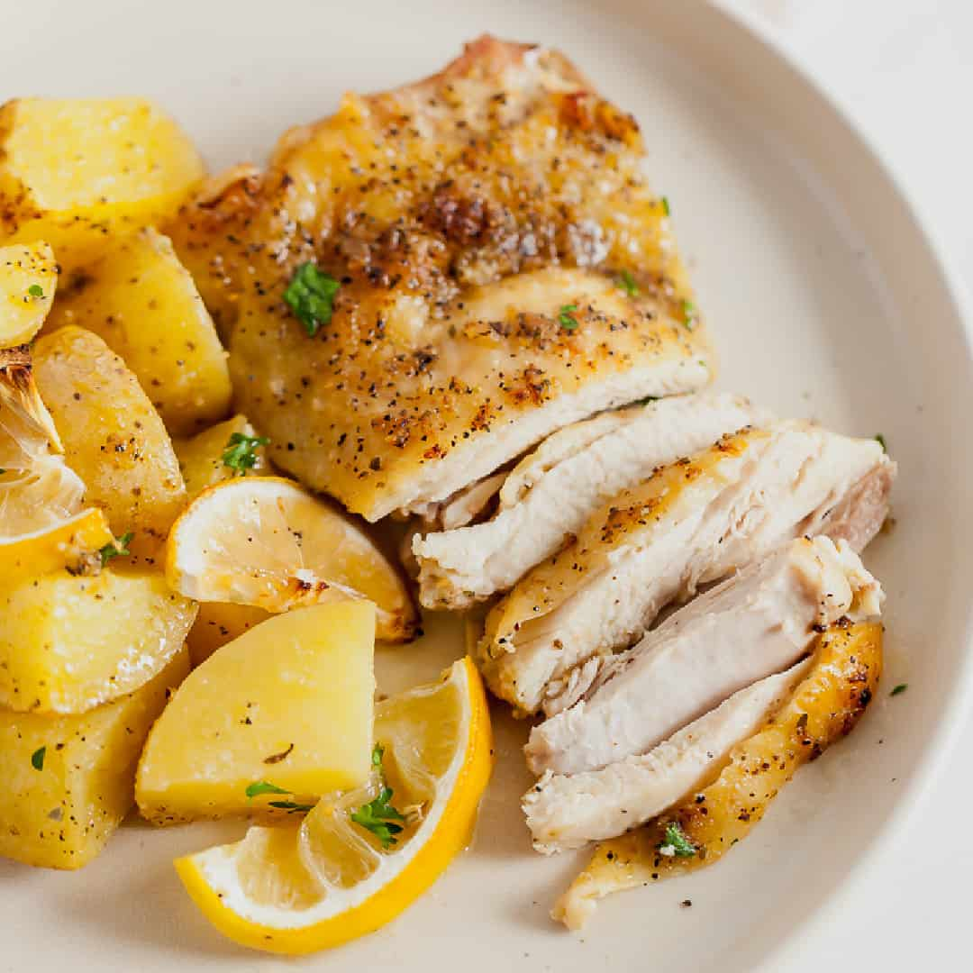 sheet pan roasted chicken thighs and potatoes